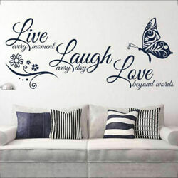 Home Decor Live Laugh Love Butterfly Flower Wall Art Sticker Modern Wall Decals $7.99