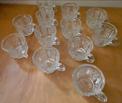 VINTAGE CRYSTAL CUT GLASS PUNCH BOWL CUPS 12 PERFECT amp; BEAUTIFUL HOLD 3 OZ. $35.99