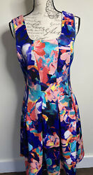 NEIMAN MARCUS Designer Dress Size Medium Colorful Sleeveless Fit amp; Flare Floral