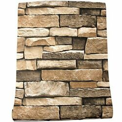 Rock Wallpaper Stone Peel And Stick 3D Stone Paper Backsplash Countertop Wall $10.80