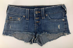 True Religion Womens Cut Off Shorts Sz 28 Frayed Blue Denim Button Fly USA Made $29.24
