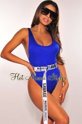 Hot Miami Styles Fashion Nova ASOS NEW Royal Blue Savage Belted High Swimsuit S $49.00