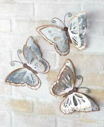 Galvanized Butterfly Wall Set of 3 Hanging Metal Wings Nature Décor $17.99
