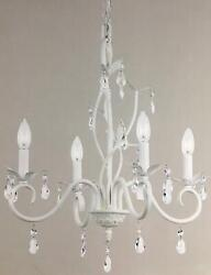 White Crystal Bead Mini Chandelier Chic Candle 4 Light Candelabra Dining Bedroom $89.95
