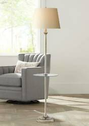 Modern Floor Lamp With Table Glass Fabric White Shade For Living Room Reading $79.95