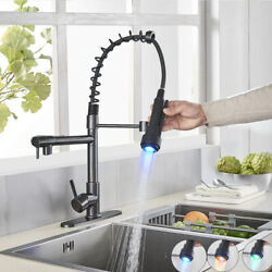 Black LED Kitchen Sink Faucet Pull Down Sprayer Spring Mixer Tap With Cover