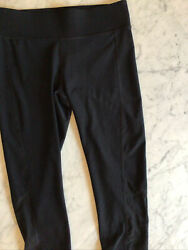 Spalding Women#x27;s High Waisted Crop Legging Black Medium Mesh Capri NEW Yoga $10.90
