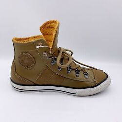 Converse All Star High Top Brown Leather Chuck Taylor Faux Fur Junior's Size 5 $29.98