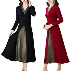 Womens Elegant V Neck A Line Dress Valentine#x27;s Day Swing Formal Party Dresses $26.99