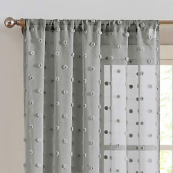 Sheer Curtains Pompom Grey Voile Pom pom Window Curtains for Bedroom Girls Room $45.12