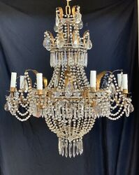 Antique Italian French Empire Crystal Beaded Tole Basket Chandelier Lustre A3 $3975.00