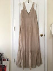 NWT Free People Frankie Pintuck Maxi Dress In Sand Boho Size L Msrp $148 $58.99