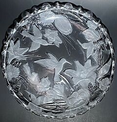 """Vintage CRYSTAL PLATTER TRAY Frosted Glass Hummingbird Floral Lily Bird 13"""" $26.99"""