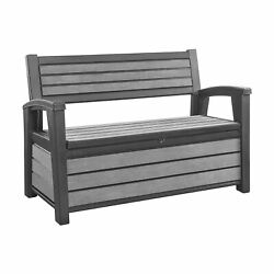 Keter Hudson 60G Plastic Backyard Patio Storage Bench Deck Box Gray Open Box $179.99