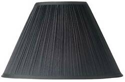 Black Mushroom Pleated Large Lamp Shade 7quot; Top x 17quot; Bot. x 11quot; High Spider $29.99