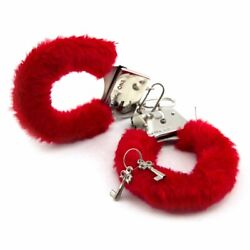 Novelty Prank Playful Fuzzy Red Handcuffs with Keys Valentine#x27;s Gag Gift $2.95