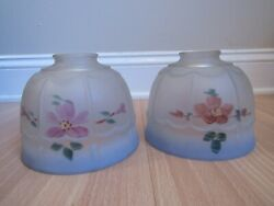 ANTIQUE lamp shades x2 REVERSE PAINTED small blue flowers 6quot; dia amp; 2 1 4quot; globes $63.99