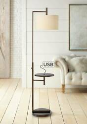 Modern Floor Lamp with Table Oiled Bronze Metal USB Port for Living Room Office $239.99