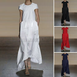 Womens Summer Short Sleeve Oversized Long Dress Casual Plain Beach Party Dresses $14.75