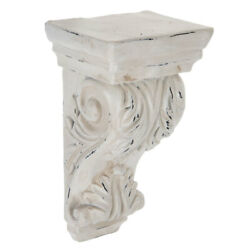 Antique White Ornate Carved Wood Corbel. Beautiful functional Home Accent $23.99