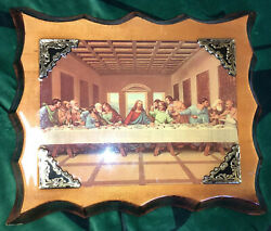 Christian Wall Art Jesus Last Supper On Wooden Plaque Shiny Glossed Finish $30.00
