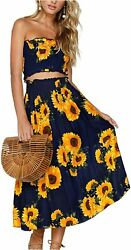 Angashion Women#x27;s Floral Crop Top Maxi Skirt Set 2 Piece Navy Blue Size Small $9.99