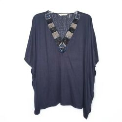 Soft Surroundings Life of the Party Tunic Size L XL Black Beaded Neck Poncho $26.99