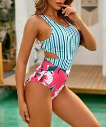 MOLYBELL One Piece Swimsuits for Women High Waisted Bathing Pink Size Large $9.99