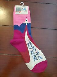 Blue Q Womens Novelty Crew Socks Heading to My Next Mistake Fits size 5 10 NTW $6.99