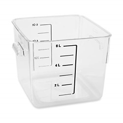 Rubbermaid Commercial Products Plastic Space Saving Square Food Storage For 6