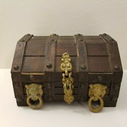 Vintage Wooden Treasure Chest Jewelry Or Trinket Chest 9 X 7 X 6 Heavy Duty $44.99