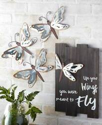 Galvanized Dragonfly Wall Set of 3 Hanging Metal Wings Nature Décor $19.99