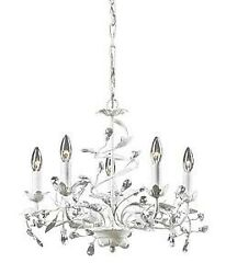Powell Brow Five Light Chandelier Antique White Finish with Clear $195.91