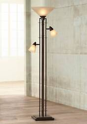 Mission Torchiere Lamp with Side Lights Bronze Dimmable for Living Room Reading $399.99