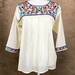 Mexican Embroidered Tunic Blouse Long Sleeve Lightweight Beige Cotton Boho $36.99