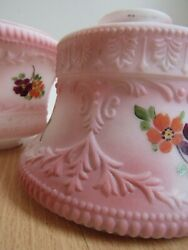 ANTIQUE lamp shades x2 HAND PAINTED small flowers PINK 6quot; dia amp; 2 1 4quot; globes $63.99