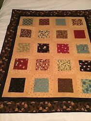 """Coffee Themed Patchwork Handmade Lap Quilt or Wall Hanging 45"""" X 56"""" Machine $22.00"""