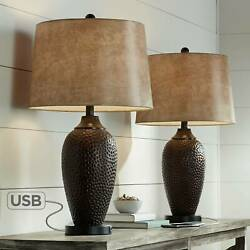 Rustic Industrial Table Lamp with USB Hammered Bronze Faux Leather Living Room $139.99