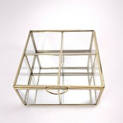 Brass amp; Glass 4 Compartment Display Case Trinket Box with Mirrored Base $49.95