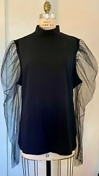 Chic Black Plus size women#x27;s top with sheer puffed sleeves in US 3XL