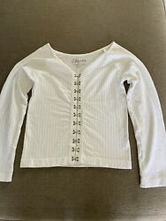 Suzette White Teens Crop Top Size Small $5.00