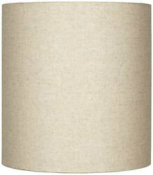 Oatmeal Tall Linen Drum Lamp Shade Modern Neutral Fabric 14x14x15 Spider $59.99