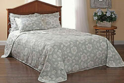STYLEMASTER CLASSIC DECOR REVERSIBLE FLORAL QUEEN SIZE BEDSPREAD GRAY amp; WHITE $72.88