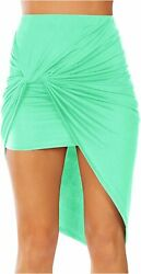 Sexy Mini Skirts for Women Bodycon High Waisted Boho High Low Mint Size Medium $9.99