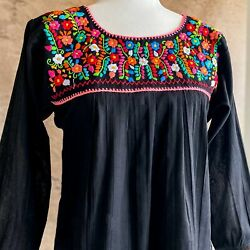 Mexican Embroidered Peasant Top Black Long Sleeve Lightweight Cotton Boho $36.99