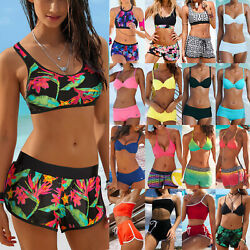 Women Tankini Set With Boy Shorts Push Up Bikini Swimsuit Swimwear Bathing Suit $11.39