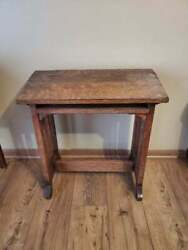 Antique Mission Oak Desk Swing Lift Top Small Possibly Childs 24.5x24.25 $176.69