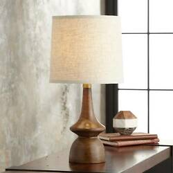 Mid Century Modern Table Lamp Brown Linen Shade for Living Room Bedroom Office $59.99