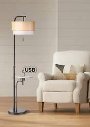 Modern Floor Lamp with Table USB Bronze Organza Double Drum Shade Living Room $249.99
