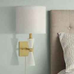 Scava Plug In Modern Wall Lamp in Wood and Brass $69.99